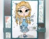 Fairy and dragonfly - BLANK -  OOAK card