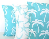 OUTDOOR Nautical Pillow Covers, Decorative Throw Pillows, Cushion Covers, Ocean Blue Aqua White, Beach Cottage, Combo Set of Three 18 x 18