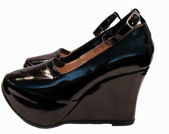 Platform Wedge Shoes Womens Black Patent Leather Ankle Strap Gothic Lolita Shoes Wms US 8 to 8 1/2