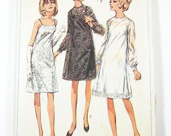 "Misses' One Piece Slip Dress and Overdress - Sz 14/Bust 34"" - Vintage 60s Dress Pattern - Simplicity 6784"