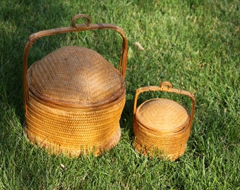 Bamboo basket with handle and lid Smaller vintage woven Beehive domed Basket Cool storage basket
