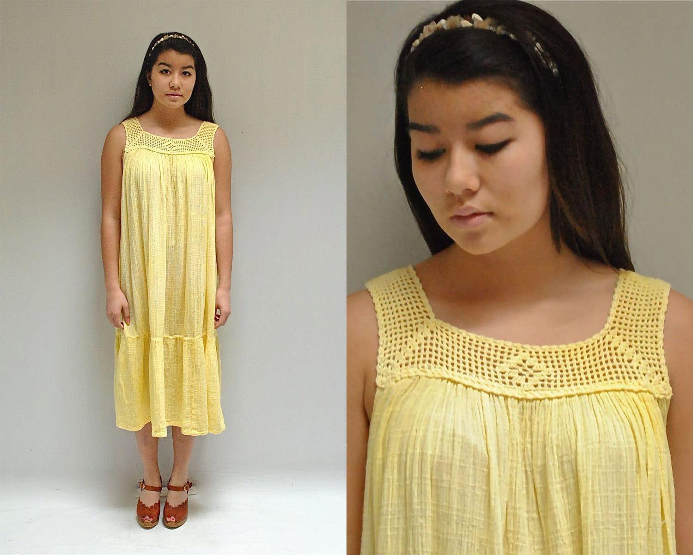 70s Gauze Dress // Crochet SunDress // SUNSHINE MORN