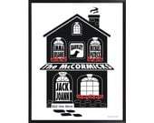 Personalized Family Home Print, Framed 11x14 Silhouette House Print, Family Name Art, Housewarming Gift