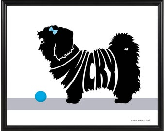 Personalized Lhasa Apso Silhouette Print, Framed 8x10 Dog Name Art, Gift for Dog Lover