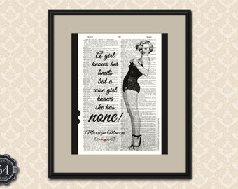 A Girl Knows Her Limits But A Wise Girl Knows She Has None MARILYN MONROE Quote Vintage Dictionary Print Marilyn Monroe Wall Art Home Decor
