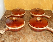 Vintage Hull Oven Proof Brown French Onion Soup Crocks With Handles & Lids-Set of 4