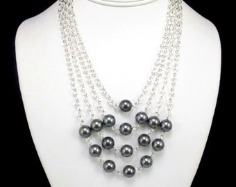 Women's Statement Necklace with Pyramid of Pearls, Pearl Necklace, Formal, Perfect for Bride