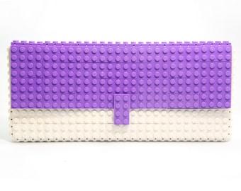 Lavender & white clutch purse made with LEGO® bricks FREE SHIPPING purse handbag legobag trending fashion lego