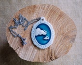 Porcelain Jewellery Ceramic Cloud 9 Teal Pendant by Mrs Peterson Pottery