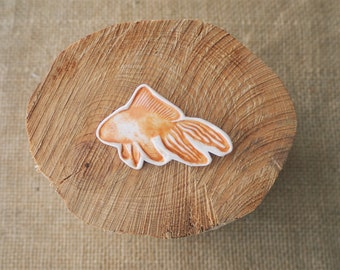 Porcelain Jewelry, Lucky Goldfish Ceramic Brooch by Mrs Peterson Pottery