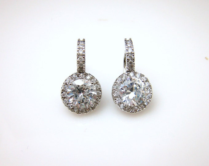 SALE set of 4 5 6 7 8 pairs bridal earrings bridesmaid gift cubic zirconia round halo luxury white gold rhodium click style leverback hoop