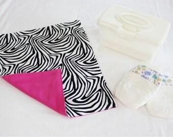 Zebra and Hot Pink Waterproof Changing Pad - medium