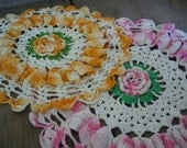Vintage Doilies Cottage Chic Decor Handmade Pink and Golden Yellow Roses Doily Set Kitchen or Nursery Decor