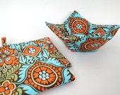 Microwave Bowl Cozy Pot Holder Set Modern Fabric