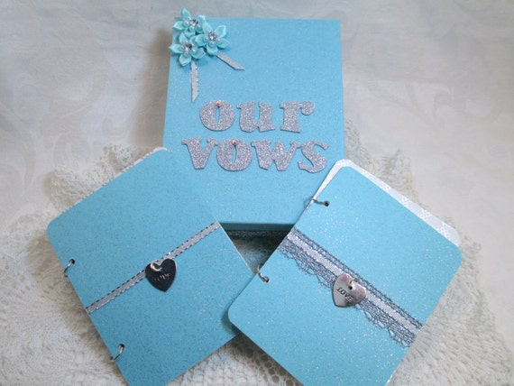 Wedding Vow Book and Box Set - Blue Glitter and Crystals- with Matching Keepsake Box – Personalized