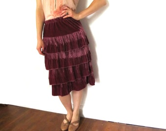 vintage skirt pink velvet 1980s womens clothing tiered accordion pleat size s m small medium