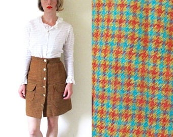 vintage skirt mini mod womens clothing 1960s wool brown houndstooth size extra small xs