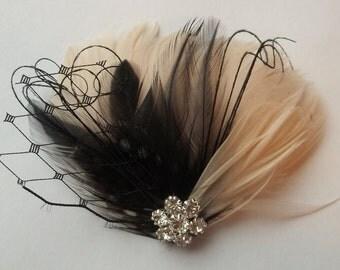 Champagne Wedding, Wedding Fascinator, Wedding Hair Clip, Bridal Fascinator, Feather Hair Clip, Bridal Comb, Wedding Comb, Champagne Black