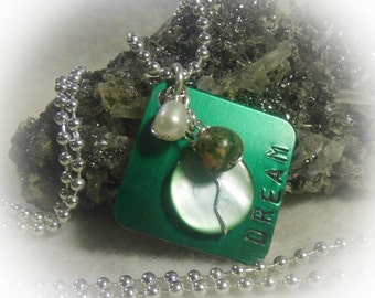 Green Dream Hand Stamped  Square Wire Wrapped Necklace Silver Aluminum