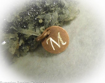Letter M Hand Engraved Personalized Small Antique Copper Charm 1/2 inch
