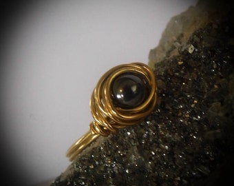 Wire Wrapped Brass Black Hemalyke Ring size 4 1/2