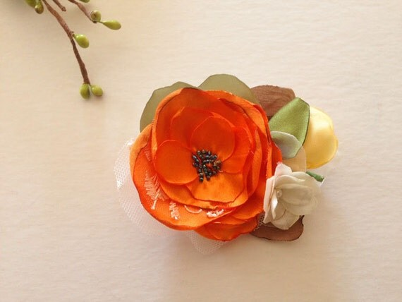 Orange Poppy Flower Bouquet Brooch Pin OR Hair clip Handmade Weddings