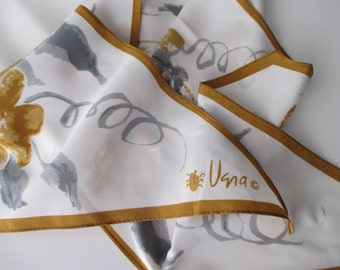 vintage VERA long silk scarf - floral, white, gray, brown