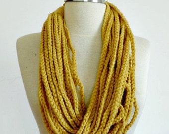 Crochet infinity chain scarf, handmade chunky neckwarmer fashion women accessories, yellow