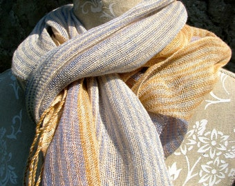 Handwoven Linen Flax  Scarf (Shawl)- Pastel Stripes- Light, Peach, Amber, Blue, Lavender