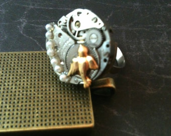 Watch Movement with Pearls and Bird Steampunk Ring