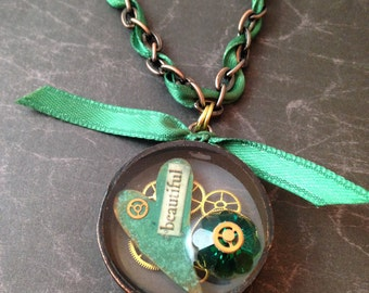 Green 'Beautiful' Heart, Gears, and Swarovski Crystal Steampunk Necklace