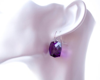 Purple Amethyst & Argentium Silver Earrings
