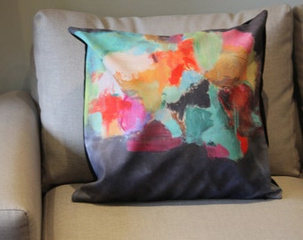 Stylish Abstract Art pillow Cushion,Fine Art design on oversized couch, sofa or ottoman perfect for condo's or home by Farida Zaman