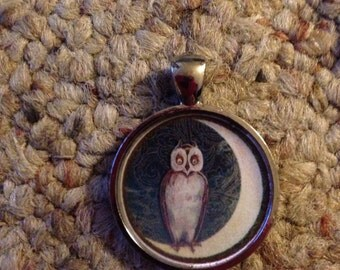 Victorian Halloween Image Owl and Moon Pendant Necklace-FREE SHIPPING-
