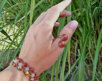 Double Gemstone Ring - Monk's Stone - Goldstone - Boho Chic - Adjustable Ring