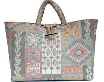 Knitting Bag Upholstery Bag Pastel Southwestern Bag Large Project Tote Knitter's Tote Bag Fully Lined Inside Pocket Tapestry Bag