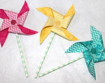 Fabric Pinwheels in Pink, Yellow, Teal Chevron