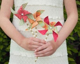 Fabric Pinwheels - Wedding Pinwheels - Coral and Mint Wedding - Metallic Gold