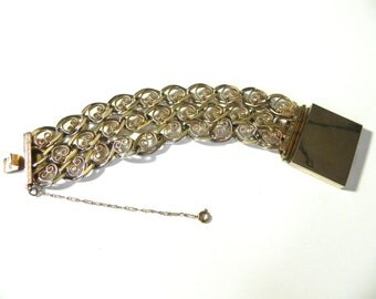 Vintage wide 40s Chunky Chain Bracelet with Book Clasp - on sale