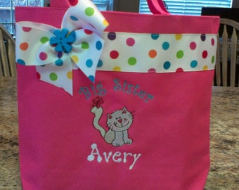 Big Sister bag with sweet little kitten- Pink- Personalized at NO additional charge!