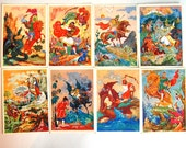 Folk Art Russian Post Cards - Set of 12 Postcards - Byliny - Palekh - Collectible Card - 1960s - from Russia / Soviet Union / USSR