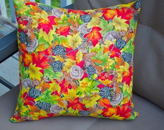 Fall Leaves Pillow cover, Decorative Toss Pillow, Accent Pillow, Throw Pillow, Pillowcase, Autumn, Pinecones- Fits 16x16 inch form