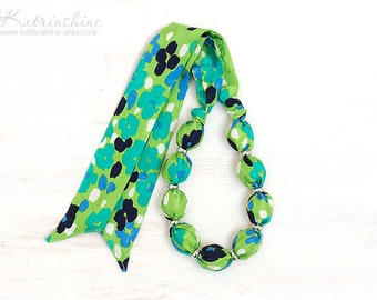 Silk green fabric bead necklace