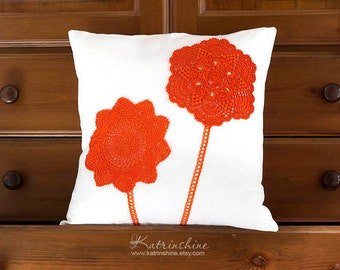 White and orange Pillow Cover With Crocheted Doily Applique OOAK decorative accent pillow