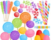 I Want Candy Cute Digital Clipart - Commercial Use OK - Candy Clipart, Candy Graphics, Lollipop, Rock Candy, Gumdrops