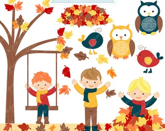 Boys Playing in Leaves Cute Digital Clipart - Commercial Use OK - Autumn Clipart, Autumn Boys Graphics, Autumn Leaves, Digital Art