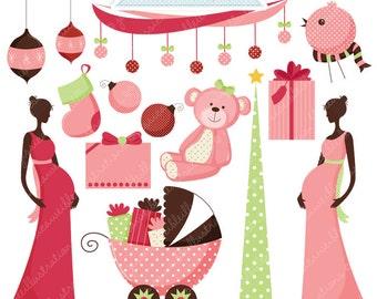 O Christmas Baby Girl Cute Digital Clipart - Commercial Use OK - Christmas Clipart, Christmas Graphics, Baby Girl, Christmas Baby