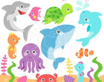 Ocean Animals Cute Clipart, Ocean Animal Graphics, Under the Sea, Dolphin Clipart, Sea Turtle, Underwater Clip Art, Whale, Ocean Life
