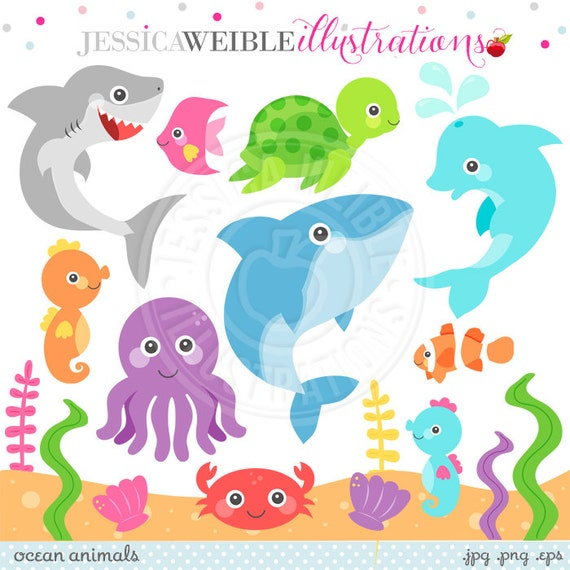 Clipart, Ocean Animal Graphics, Under the Sea, Dolphin Clipart, Sea ...