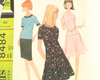 Vintage Sewing Patten for Teen or Junior Two-Piece Dress with Slim or Full Skirt